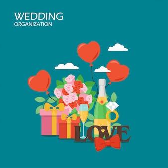 Illustrazione di progettazione di stile piano di organizzazione di nozze