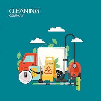 Illustrazione di progettazione di stile piano di servizi di società di pulizia