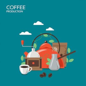 Illustrazione di progettazione di stile piano di vettore di produzione del caffè