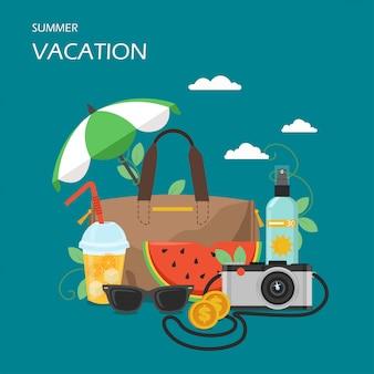 Illustrazione di progettazione di stile piano di vettore di vacanze estive