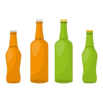 Illustrazione di progettazione di vettore della bottiglia di vetro isolata su bianco