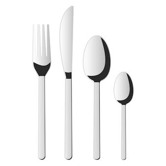Illustrazione di progettazione di vettore della forchetta, del cucchiaio e del coltello isolata su bianco
