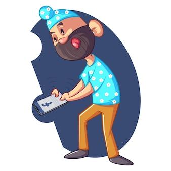 Illustrazione di punjabi sardar con il telefono