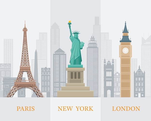 Illustrazione di punti di riferimento di fama mondiale