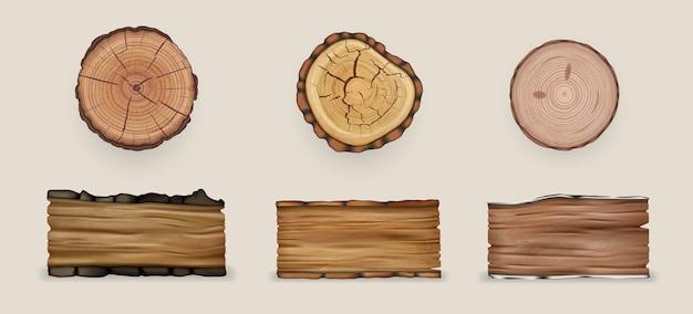 Illustrazione di raccolta di set di legno realistico