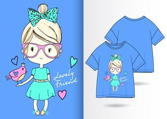 Illustrazione di ragazza carina disegnata a mano con design t-shirt