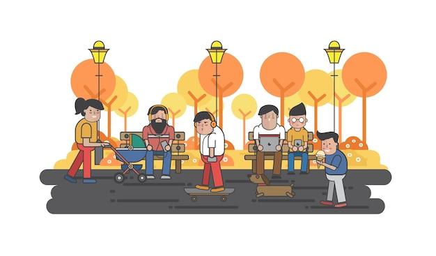Illustrazione di ragazzi appesi nel parco