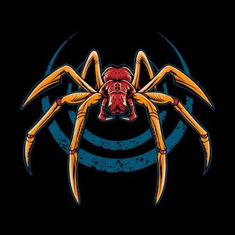Illustrazione di ragno su sfondo scuro