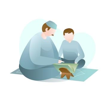Illustrazione di ramadan con big man che insegna a lettura del corano santo al giovane