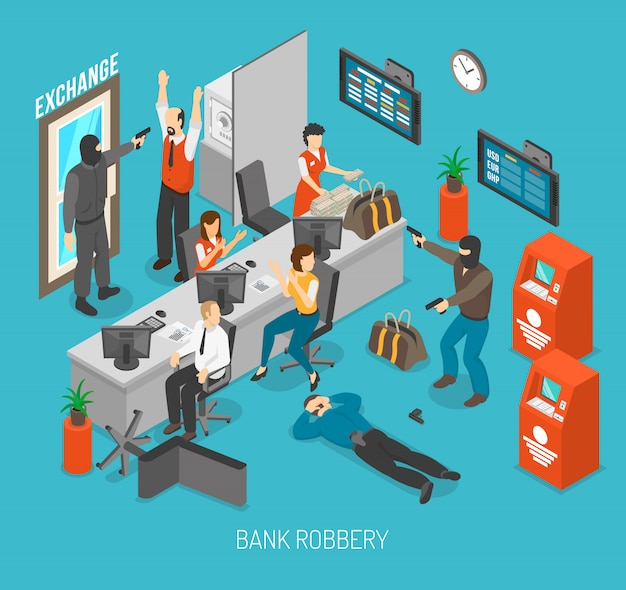 Illustrazione di rapina in banca