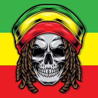 Illustrazione di rasta cranio di dreadlocks