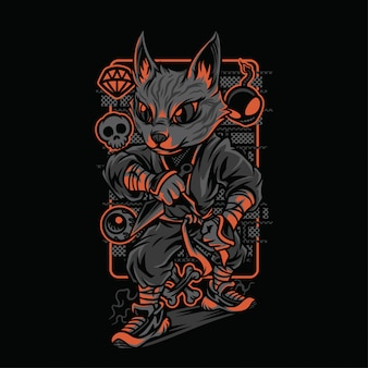 Illustrazione di razze di gatti stile ninja
