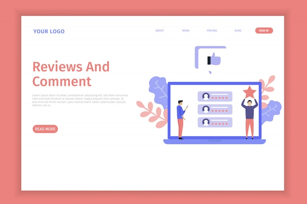 Illustrazione di recensioni e commenti per il sito