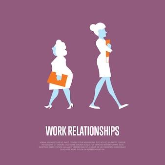 Illustrazione di relazioni di lavoro con donne d'affari
