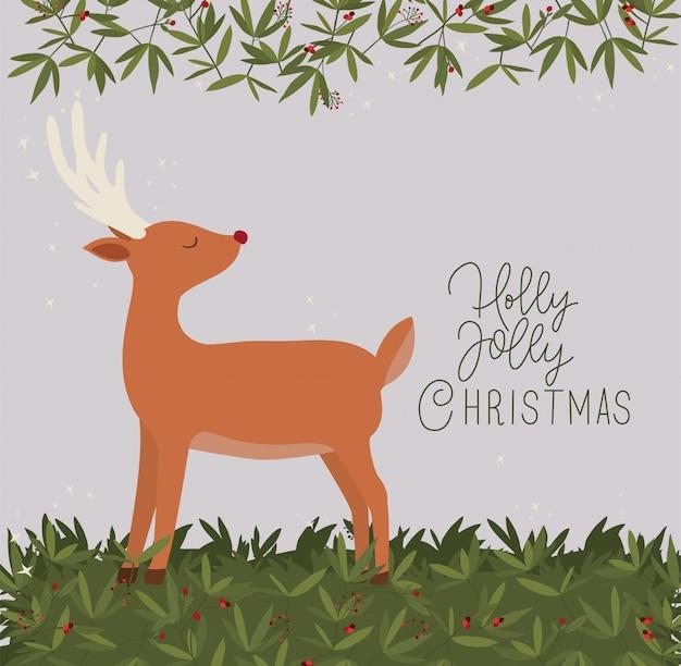 Illustrazione di renne di buon natale