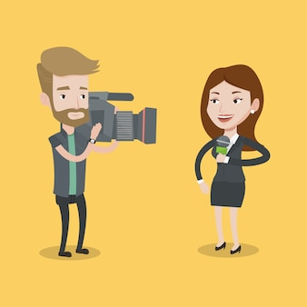 Illustrazione di reporter e operatore tv.