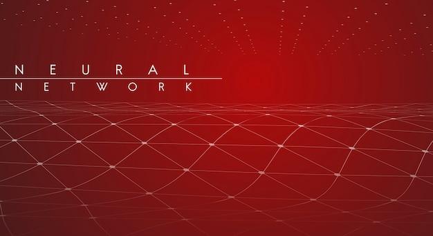 Illustrazione di rete neurale rossa