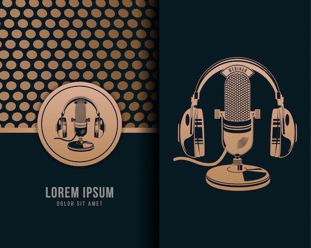 Illustrazione di retro microfono classico della cuffia con stile d'annata