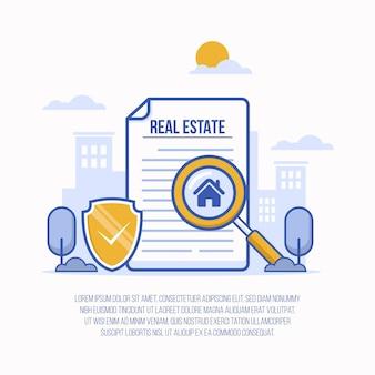Illustrazione di ricerca immobiliare con lente d'ingrandimento