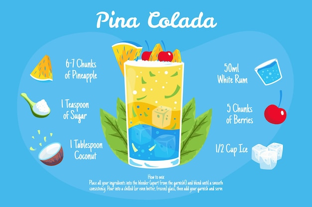 Illustrazione di ricetta del cocktail di pina colada
