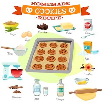 Illustrazione di ricetta di ingredienti di cottura