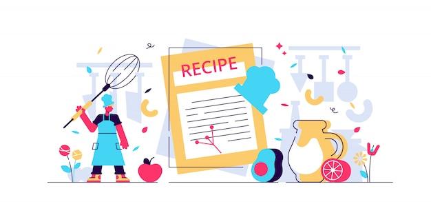 Illustrazione di ricette. lo chef minuscolo scrive il concetto dell'elenco degli ingredienti. libro di cucina con cena pasto sano e gustoso. piatto gourmet biologico per vegetariani. note di testo culinario fatto in casa.