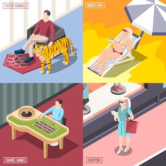 Illustrazione di rich life concept