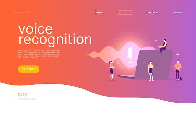 Illustrazione di riconoscimento vocale piatta. design della pagina di destinazione. persone, laptop con onde sonore e icona dinamica del microfono.