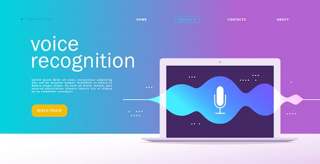 Illustrazione di riconoscimento vocale piatta. design della pagina di destinazione. schermo del computer portatile con onde sonore e icona dinamica del microfono.