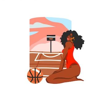 Illustrazione di riserva disegnata a mano con la giovane femmina felice di bellezza in costume da bagno che si siede sulla scena del campo da pallacanestro della spiaggia della via, su fondo bianco.