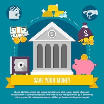Illustrazione di risparmio di denaro