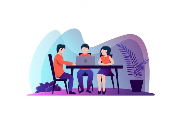 Illustrazione di riunione di lavoro di squadra