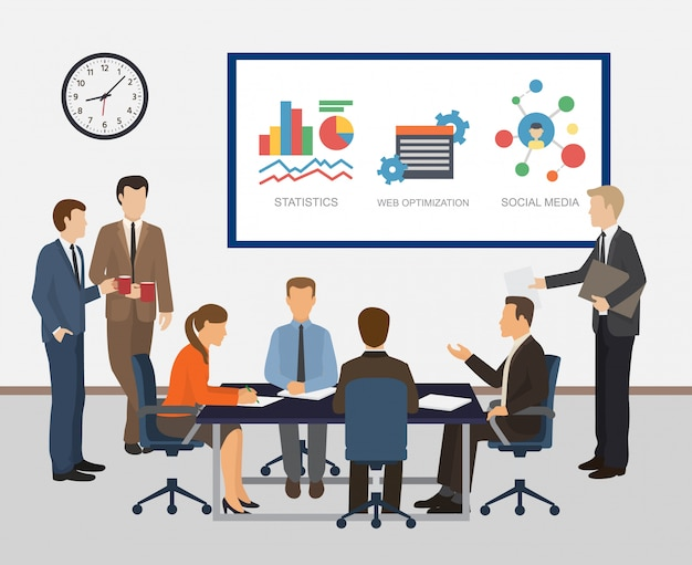 Illustrazione di riunione e di lavoro di squadra del collega di impiegati. rapporti, statistiche, conteggio, domande di pianificazione aziendale e sviluppo aziendale.