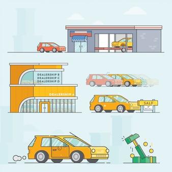 Illustrazione di rivenditore di auto
