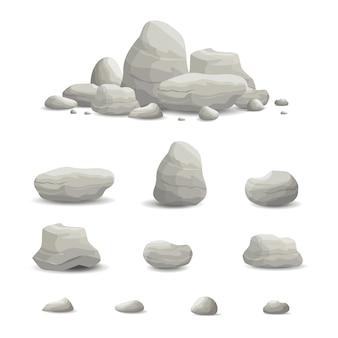 Illustrazione di rock and stone set