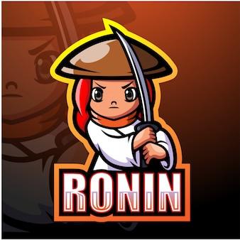 Illustrazione di ronin mascotte esport