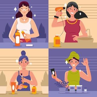 Illustrazione di routine skincare donna