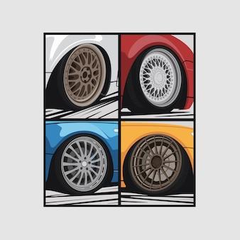 Illustrazione di ruote di auto