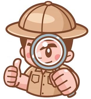 Illustrazione di safari boy con lente d'ingrandimento