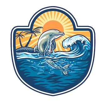 Illustrazione di salti di delfini sul mare