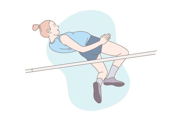 Illustrazione di salto del palo dell'atleta femminile.