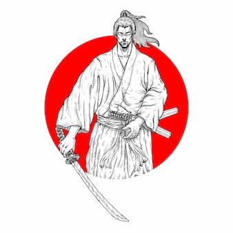 Illustrazione di samurai ronin