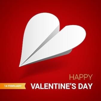 Illustrazione di san valentino. aereo di carta bianco a forma di cuore.