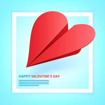 Illustrazione di san valentino. aereo di carta rosso a forma di cuore.