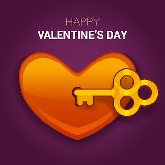 Illustrazione di san valentino. chiave del cuore come simbolo di amore