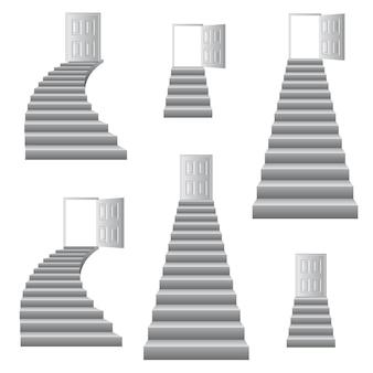 Illustrazione di scale a porta.