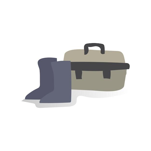 Illustrazione di scarpe e cassetta degli attrezzi