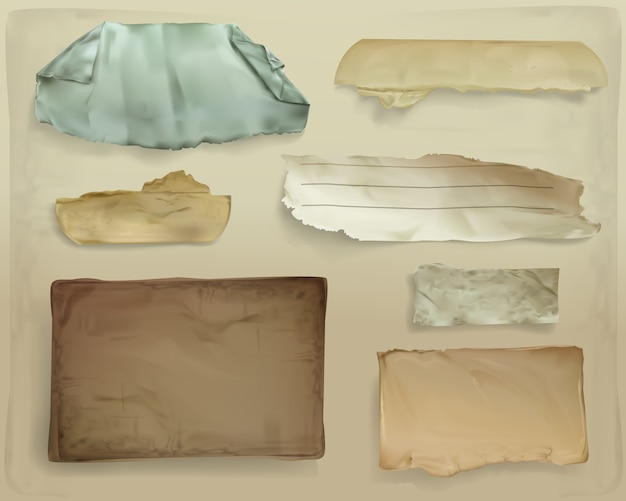 Illustrazione di scarti di carta di vecchi fogli strappati di carta realistico o brandelli di pagine sfilacciati