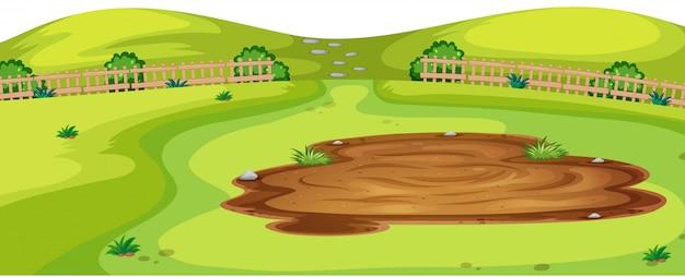 Illustrazione di scena del paesaggio dell'ambiente naturale