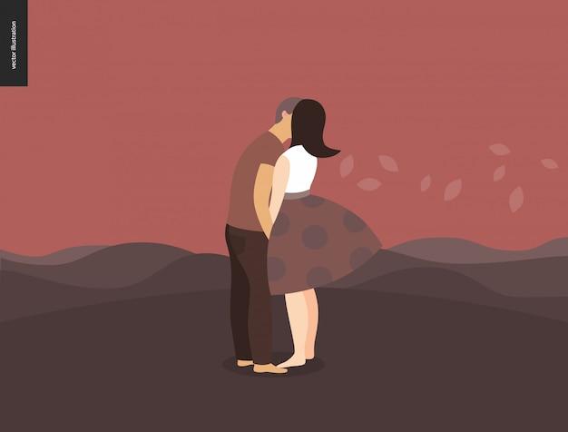 Illustrazione di scena di baciare